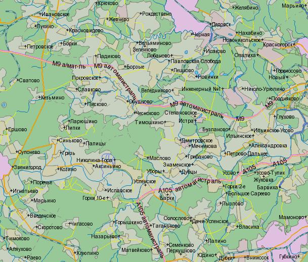 Из Москвы (справа) по Новорижскому шоссе (автомагистраль М9 - середина карты) до поворота на Звенигород (слева...